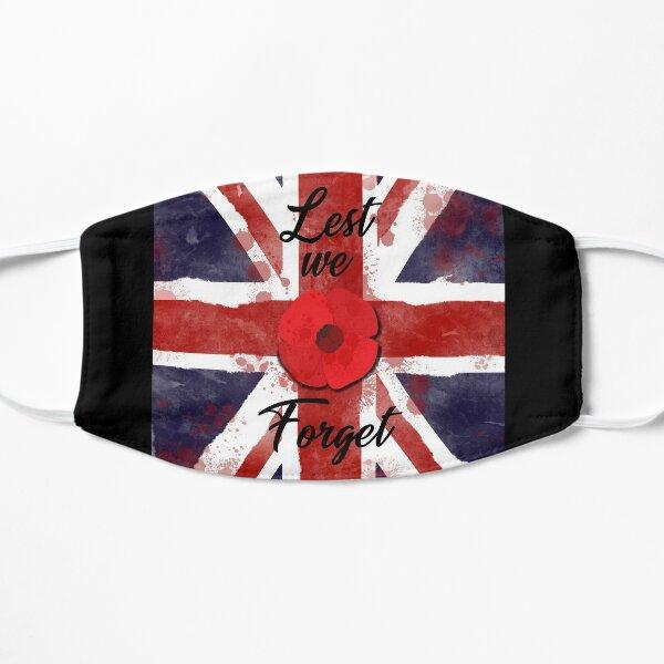 Lest we Forget with United Kingdom Flag Flat Mask