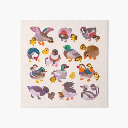 Duck and Duckling Art Board Print