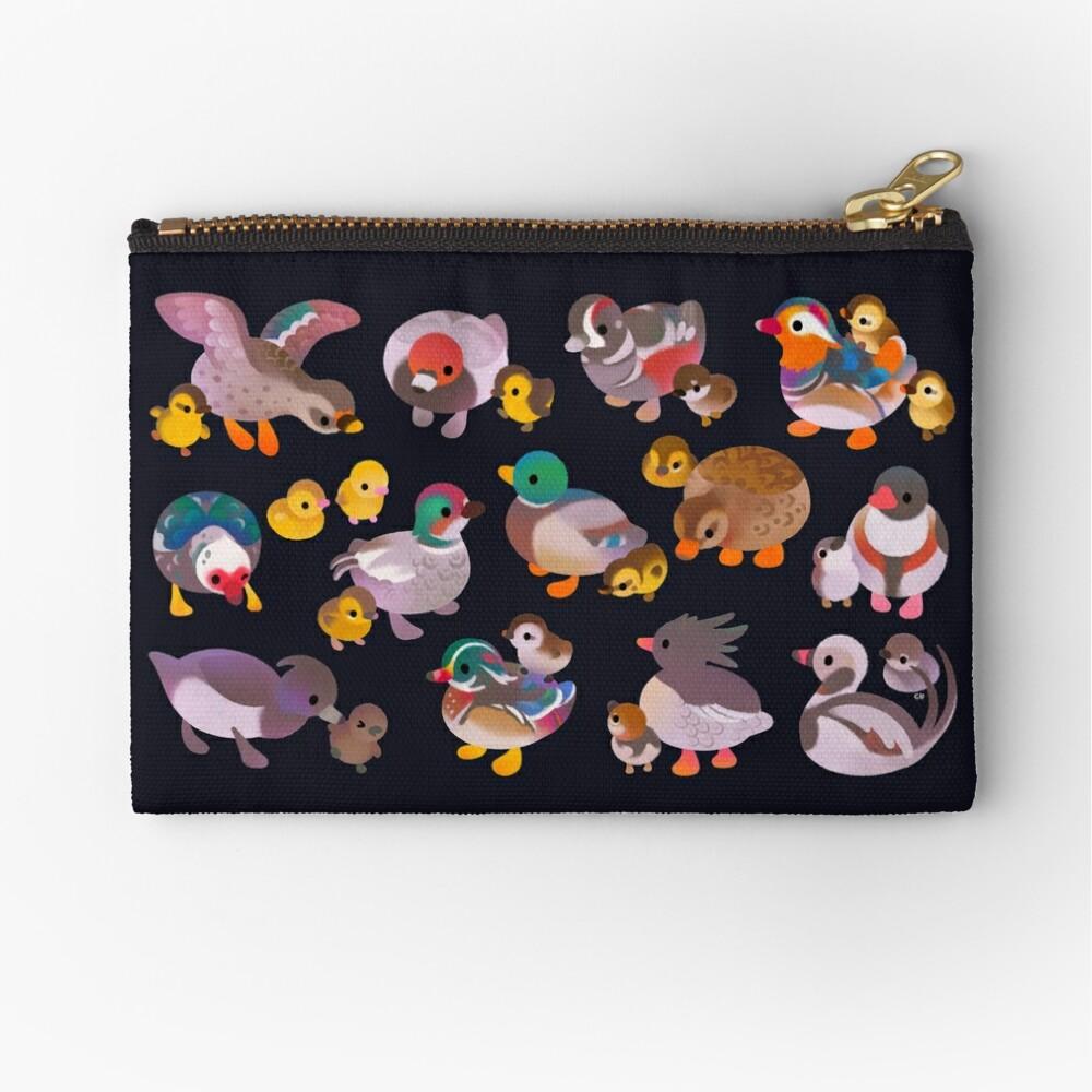 Duck and Duckling - dark Zipper Pouch