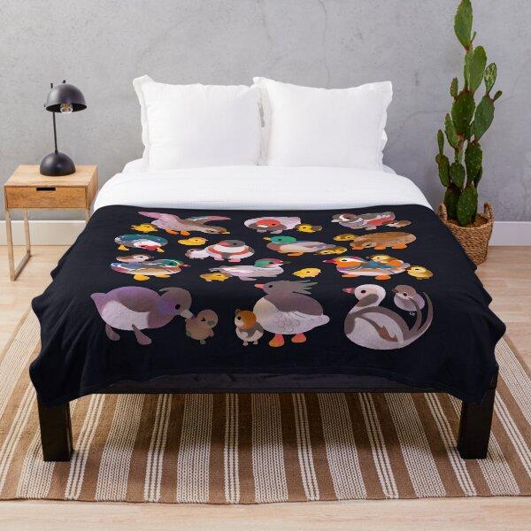 Duck and Duckling - dark Throw Blanket