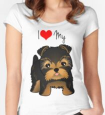 Cute Yorshire Terrier Puppy Dog Women's Fitted Scoop T-Shirt