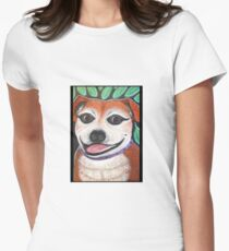 Sweet Staffy in the garden Womens Fitted T-Shirt