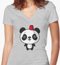 panda panda Women's Fitted V-Neck T-Shirt