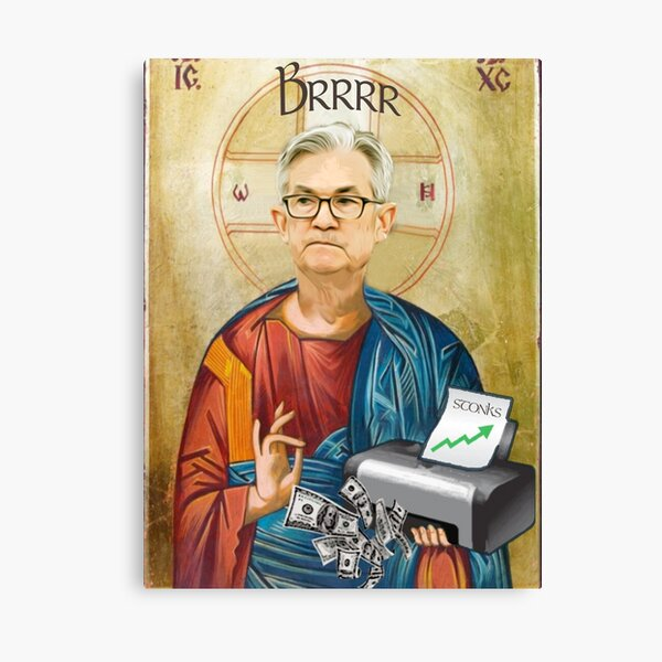 Jerome Powell Jesus | JPow Jesus | Printer goes Brrr Canvas Print