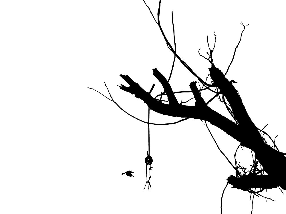 """silhouette of a flying crow and a tree "" by blue93 ..."