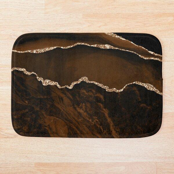 Abstract Brown & Gold Modern Geode Agate Design Bath Mat