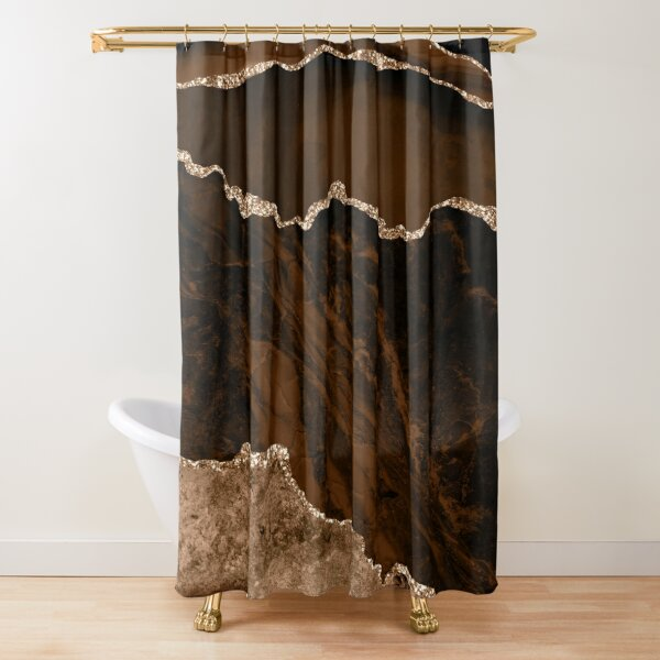 Abstract Brown & Gold Modern Geode Agate Design Shower Curtain