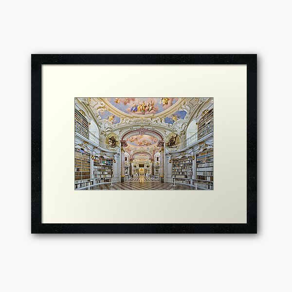 Inside the abbey library of Admont Framed Art Print