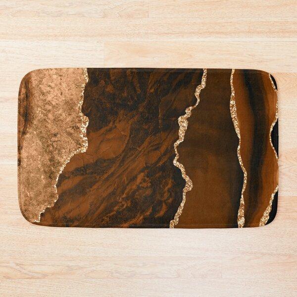 Abstract Chocolate Brown & Gold Modern Geode Agate Design Bath Mat