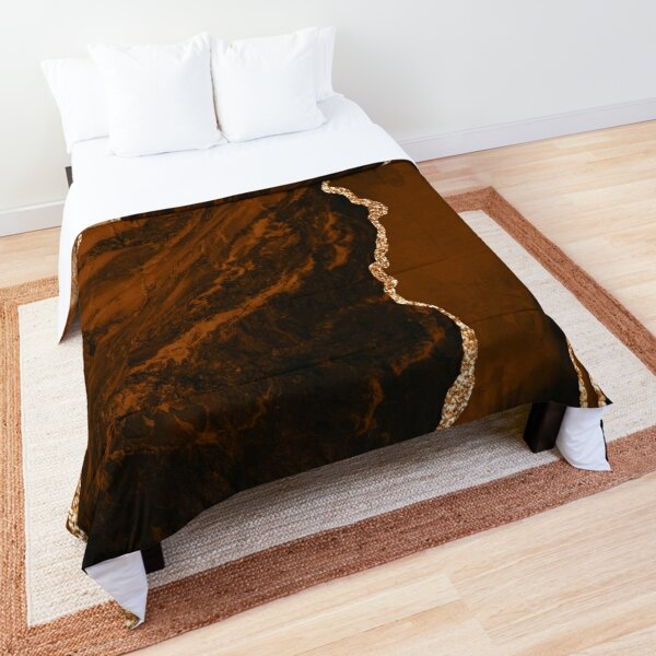 Abstract Chocolate Brown & Gold Modern Geode Agate Design Comforter