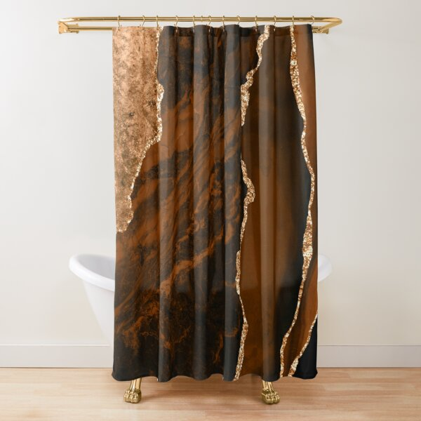 Abstract Chocolate Brown & Gold Modern Geode Agate Design Shower Curtain