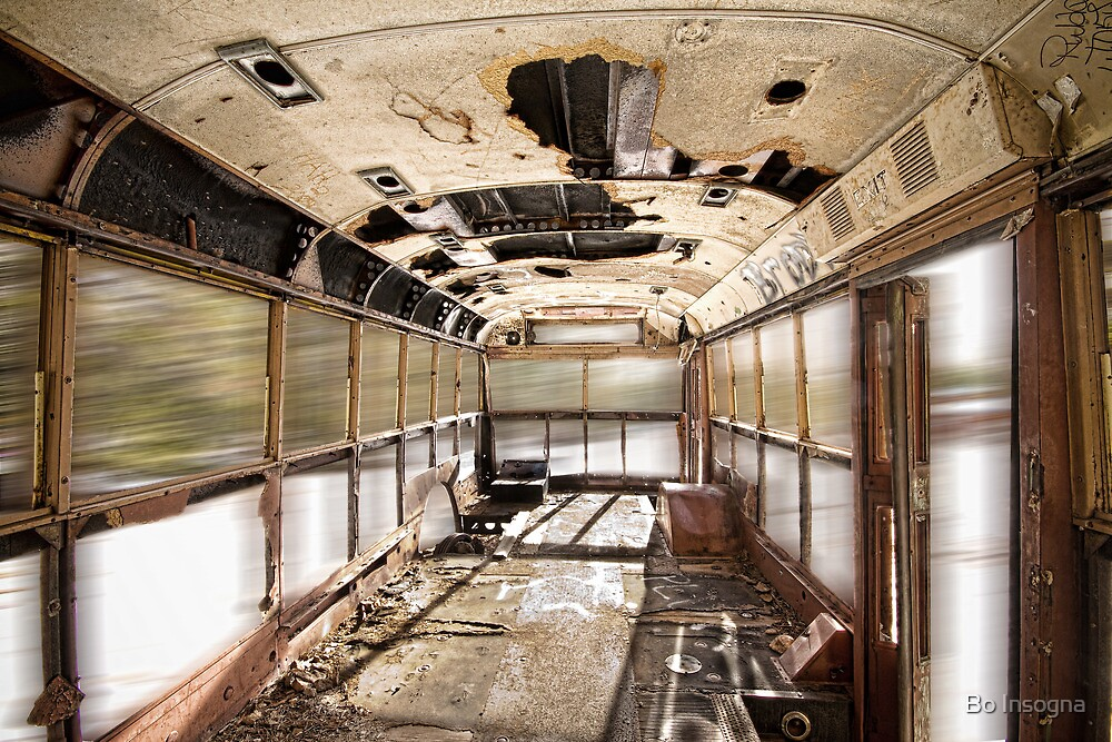 Old Rusty School Bus In Motion by Bo Insogna