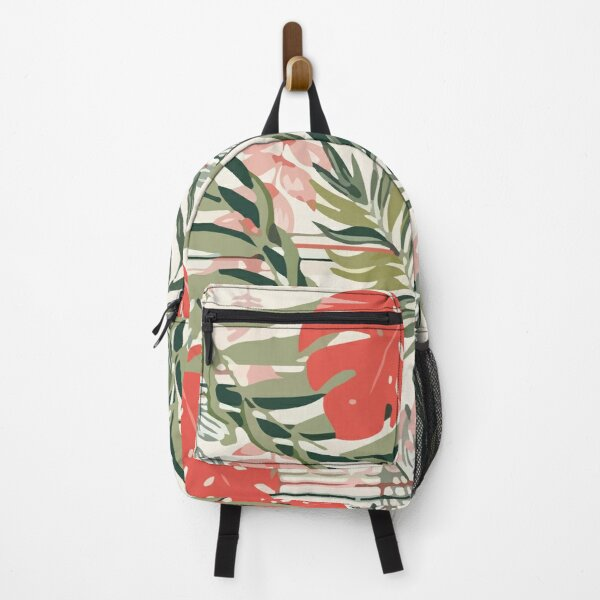 Colorful seamless pattern with red tropical plants Backpack