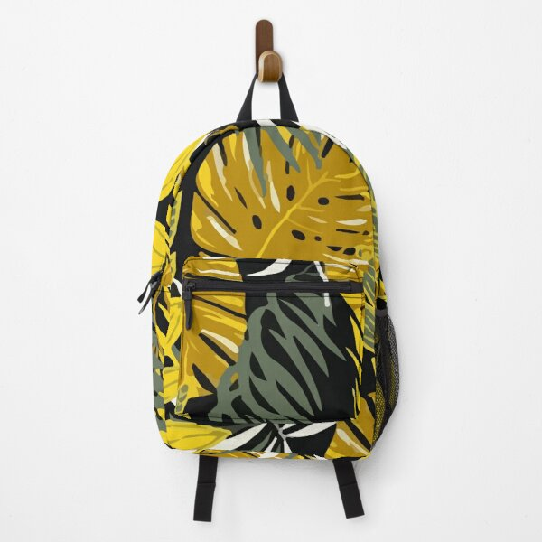 Colorful seamless pattern with tropical leaves yellow tones Backpack