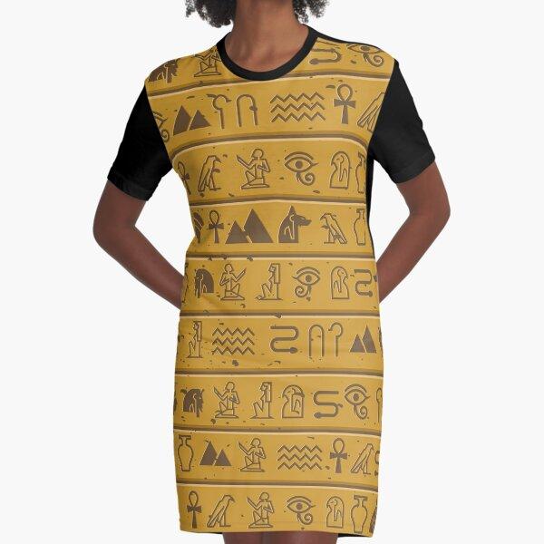 Egyptian Hieroglyphics Graphic T-Shirt Dress
