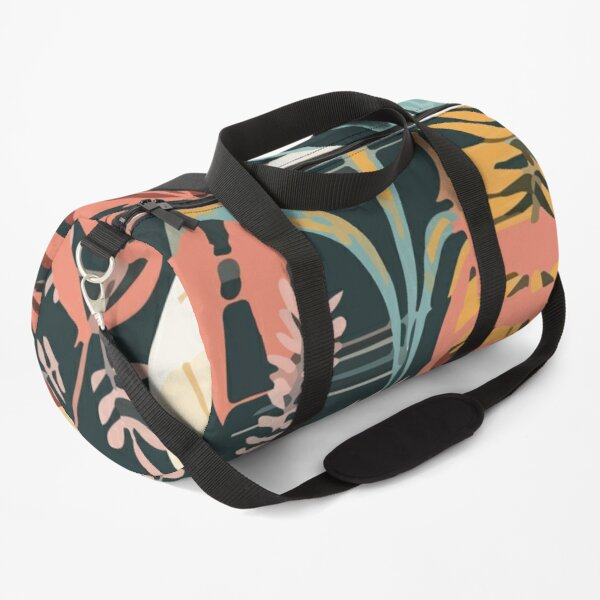 Colorful tropical seamless pattern with plants leaves abstraction Duffle Bag