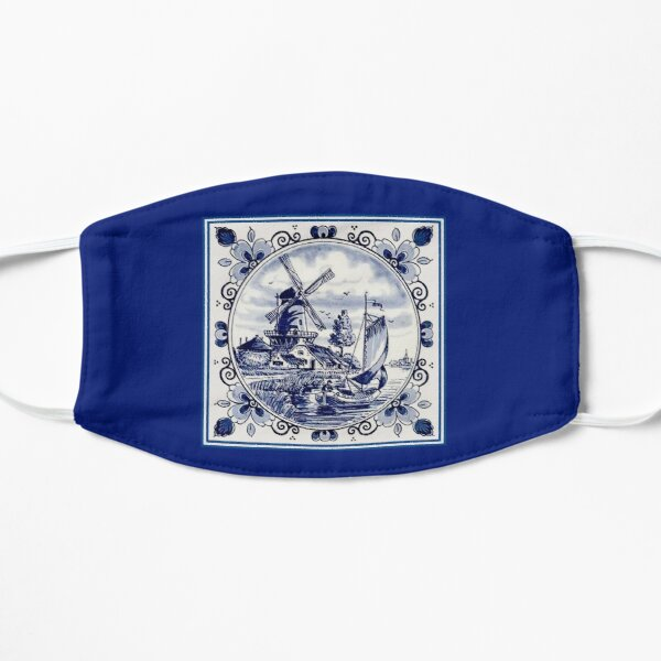 DUTCH BLUE DELFT: Vintage Windmill Print Mask
