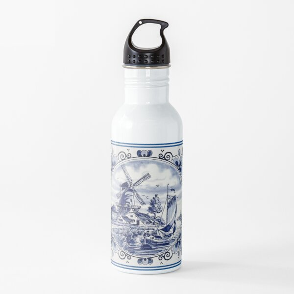 DUTCH BLUE DELFT: Vintage Windmill Print Botella de agua