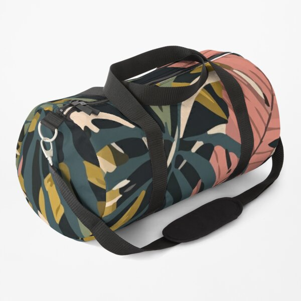 Seamless pattern colorful tropical plants leaves dark background Duffle Bag