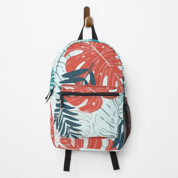 Seamless pattern with red green tropical leaves plants white Backpack
