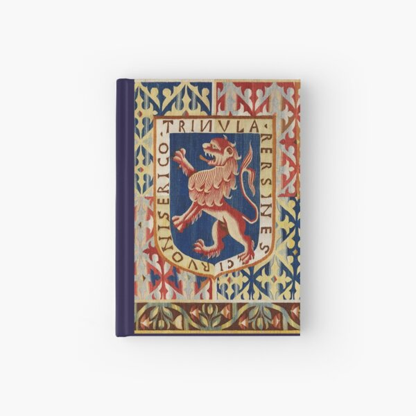 ANTIQUE FLEMISH HERALDIC TAPESTRY WITH RAMPANT LION Red Blue Yellow Hues Hardcover Journal