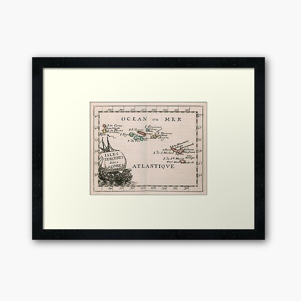 Vintage Map of The Azores Islands (1682) Framed Art Print