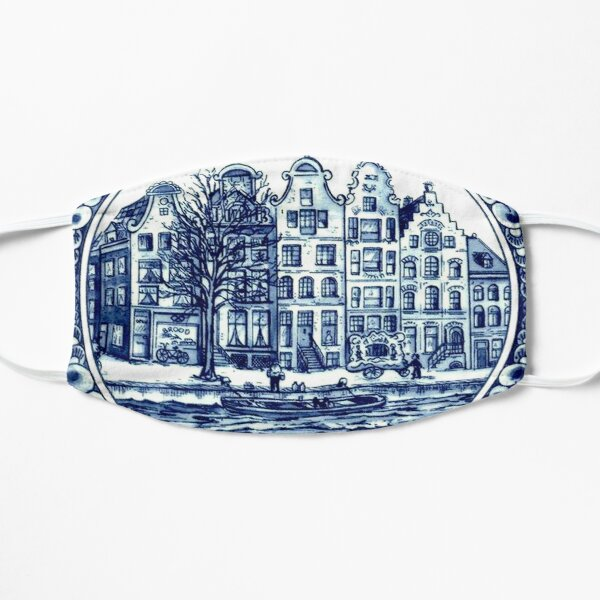 DUTCH BLUE DELFT : Vintage Boats in Canal Amsterdam Print Mask