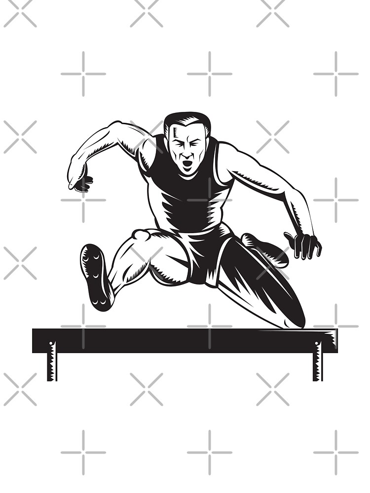 Track and Field Athlete Jumping Hurdles  by patrimonio