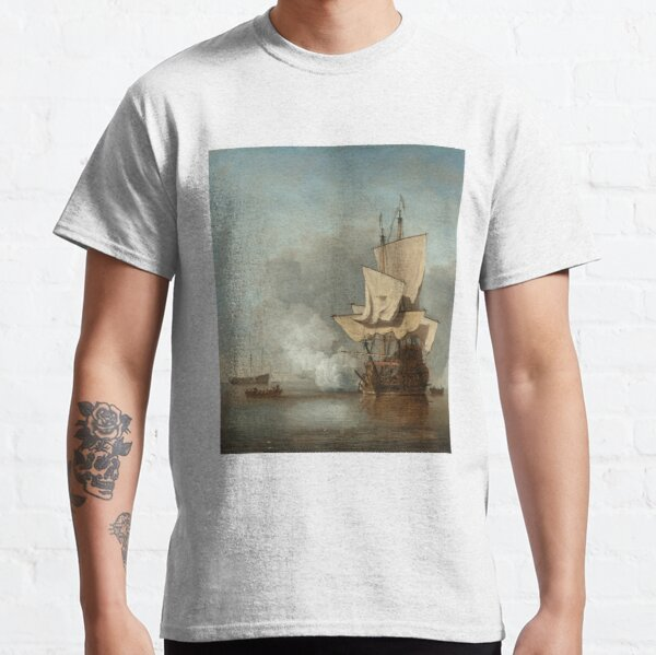 The Cannon Shot (1670) by Willem van de Velde the Younger Classic T-Shirt