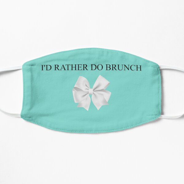 Breakfast at Tiffany's - I'd Rather Do Brunch  - Turquoise White Bow Flat Mask