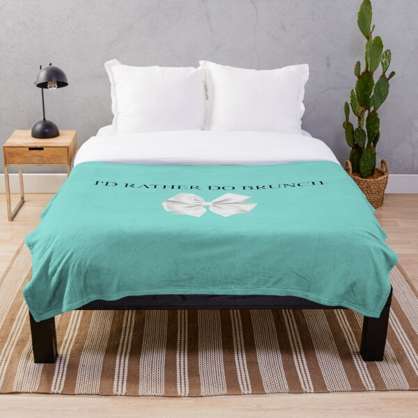 Breakfast at Tiffany's - I'd Rather Do Brunch  - Turquoise White Bow Throw Blanket
