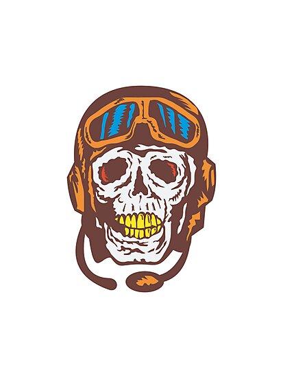 Skull Face Pilot Airman  by patrimonio