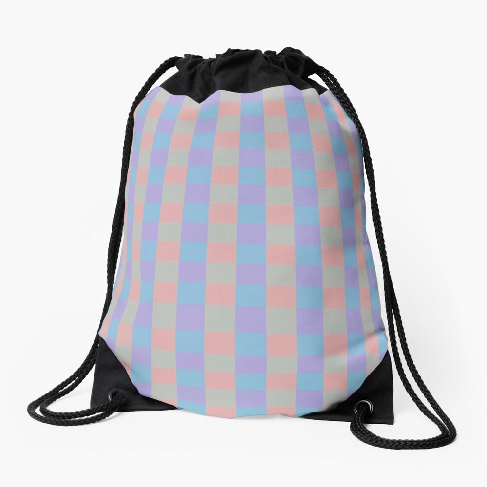 Pastel squares Drawstring Bag