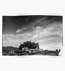 Reflection of royal park Rajapruek temple in the wate Poster