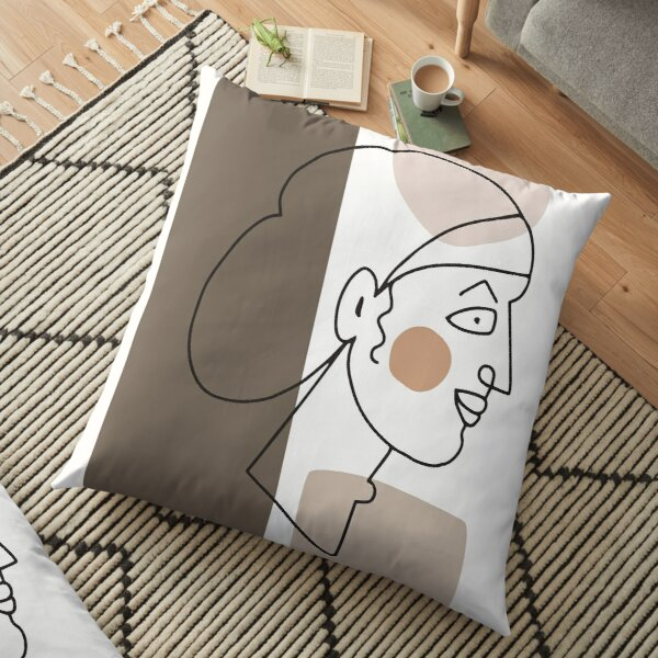 Minimal Abstract Woman Portrait Line Art Floor Pillow