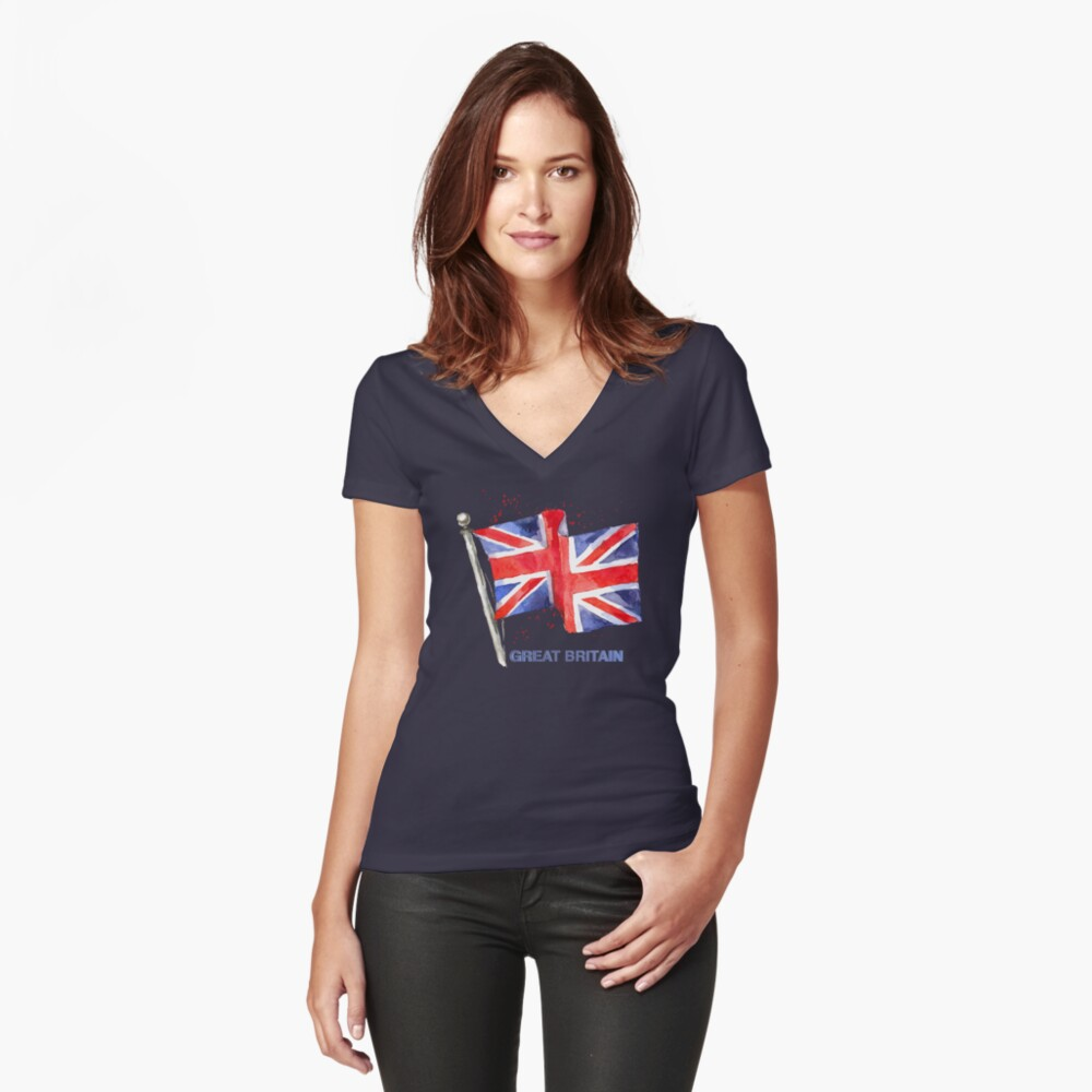 WATERCOLOR FLAG OF Great Britain Fitted V-Neck T-Shirt
