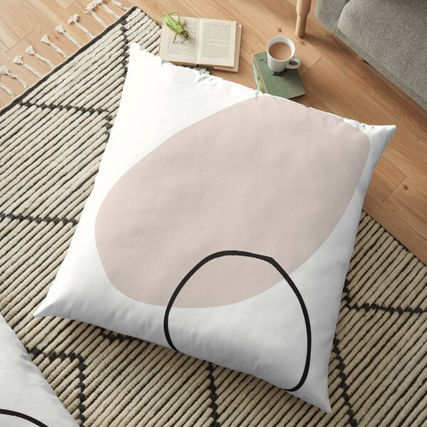 Minimal Abstract Geometric Shapes Line Art Floor Pillow