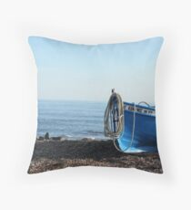 A fisherman's boat  Throw Pillow
