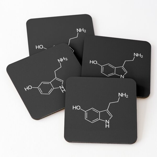 Serotonin Molecule Coasters (Set of 4)