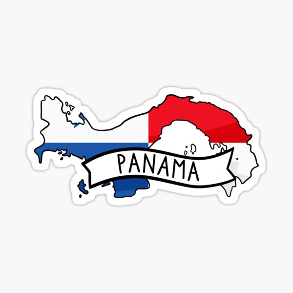 Panama Flag Map Sticker Sticker