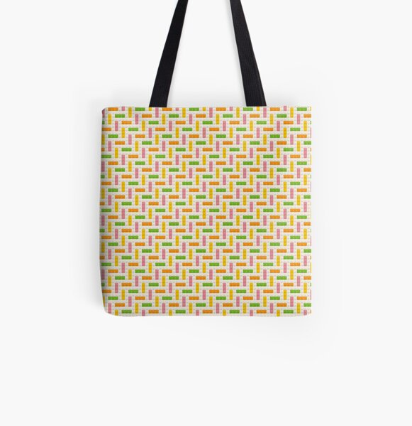 Citrus Herringbone Bricks Cross Stitch Pixel Art All Over Print Tote Bag