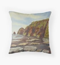 North Taranaki rock stacks 2 NZ Throw Pillow