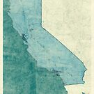 California Map Blue Vintage by HubertRoguski