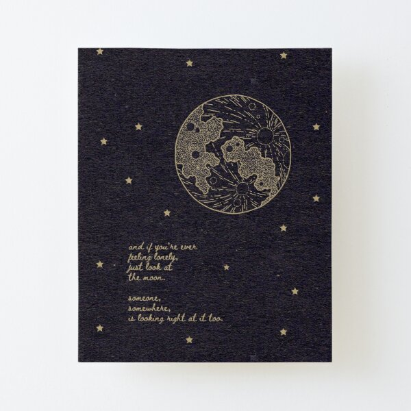 Lonely Moon Poem Canvas Mounted Print
