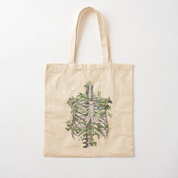 ribcage,rib cage, anatomy skeleton eucaliptus leaves Cotton Tote Bag