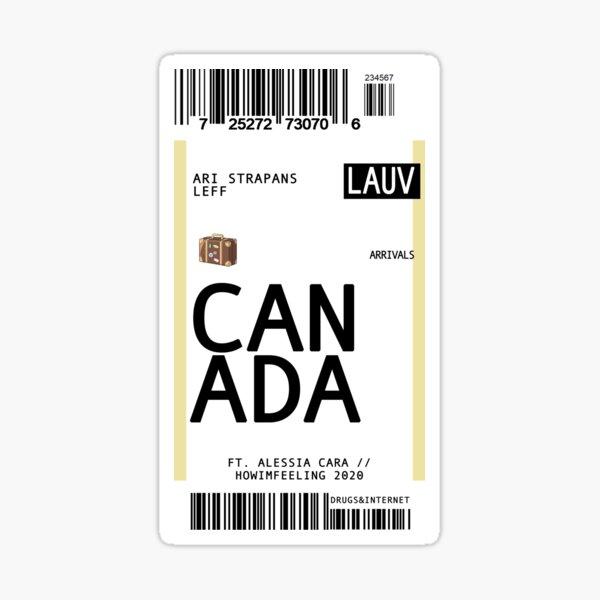 lauv canada: plane ticket Sticker
