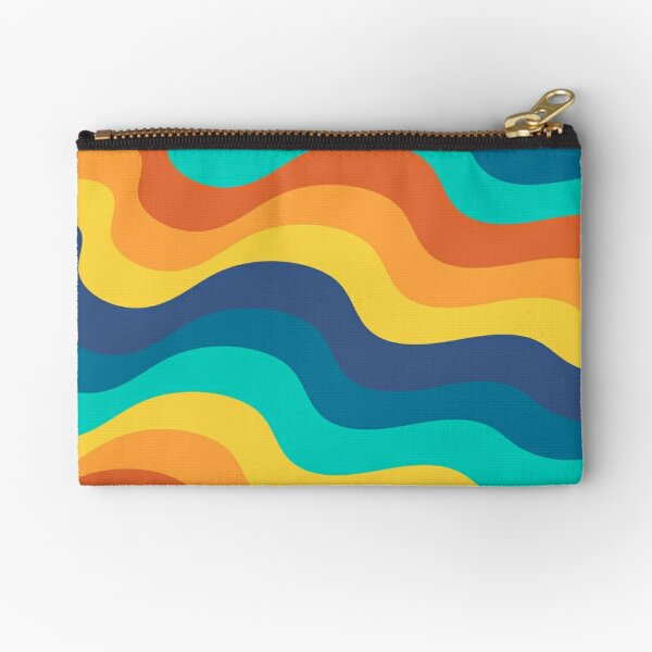 Retro 70s and 80s Mid-Century Minimalist Abstract Art Ripples Waves Zipper Pouch