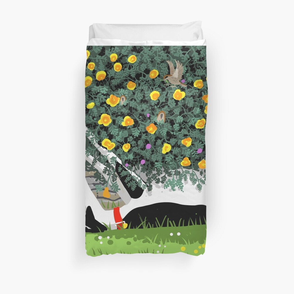 The Cowhound and the Yellow Flowers Duvet Cover