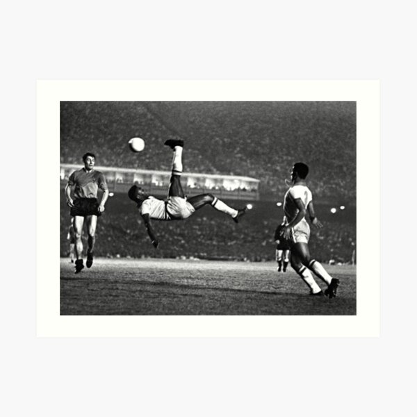 Pele Iconic Bicycle Kick (1968) (Black & White) Art Print
