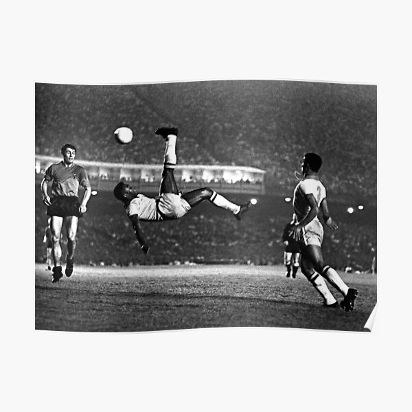 Pele Iconic Bicycle Kick (1968) (Black & White) Poster